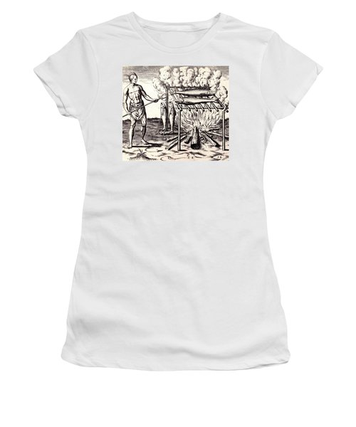 Broylinge Their Fish Over The Flame Women's T-Shirt (Junior Cut) by Peter Gumaer Ogden