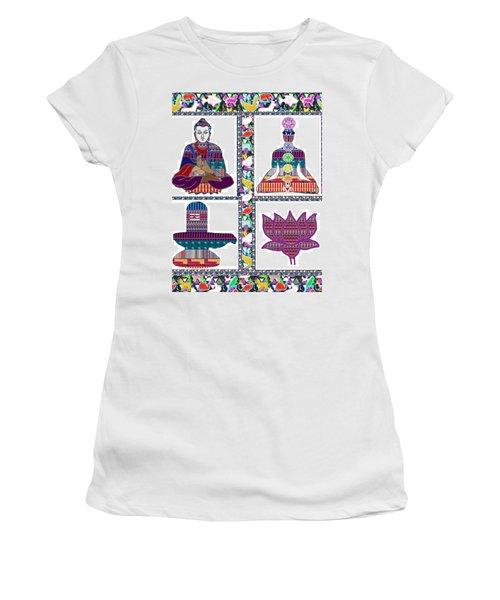 Buddha Yoga Chakra Lotus Shivalinga Meditation Navin Joshi Rights Managed Images Graphic Design Is A Women's T-Shirt (Junior Cut) by Navin Joshi