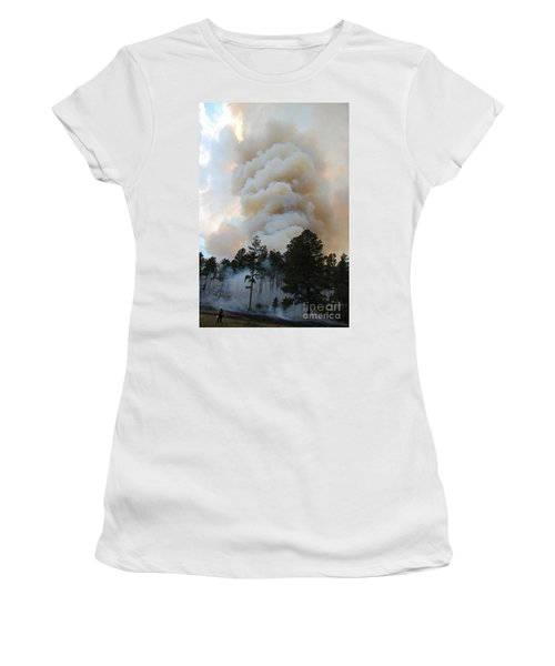 Burnout Near Song Dog Road Women's T-Shirt (Athletic Fit)