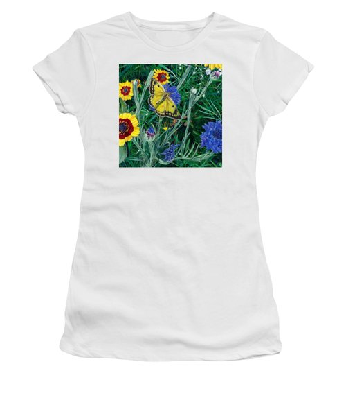 Butterfly And Wildflowers Spring Floral Garden Floral In Green And Yellow - Square Format Image Women's T-Shirt