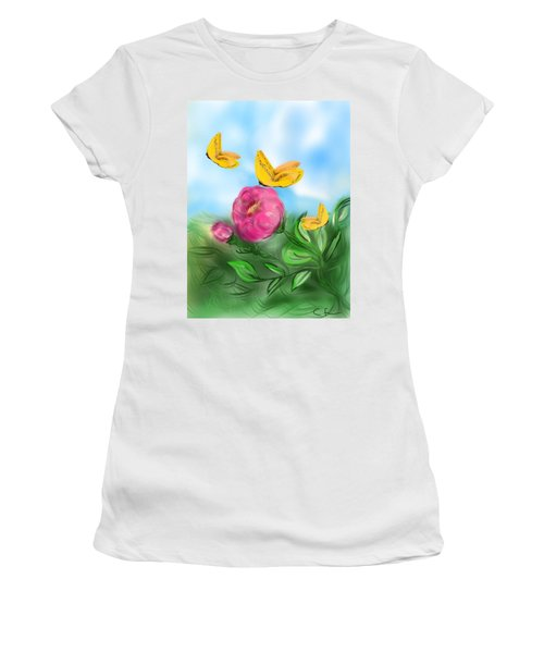 Women's T-Shirt (Junior Cut) featuring the digital art Butterfly Triplets by Christine Fournier
