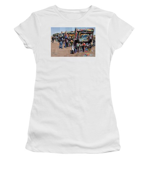 Cadillac Ranch Oblique Women's T-Shirt (Athletic Fit)