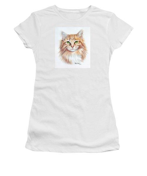 Calico Cat Women's T-Shirt (Junior Cut) by Lena Auxier