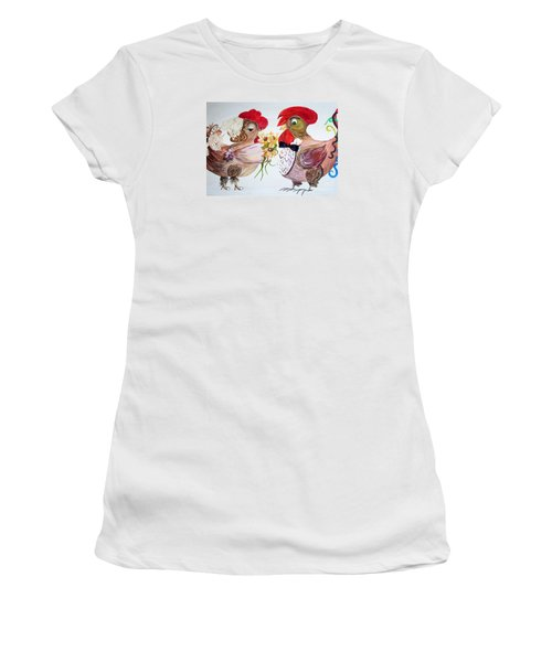 Women's T-Shirt (Junior Cut) featuring the painting Calling All Chicken Lovers Say I Do by Eloise Schneider