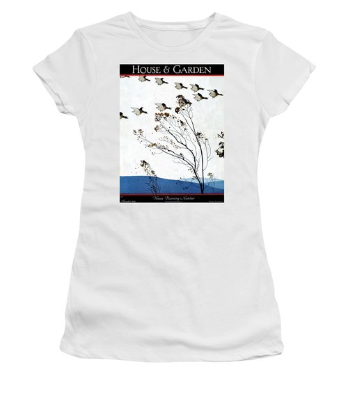 Canadian Geese Over Brown-leafed Trees Women's T-Shirt