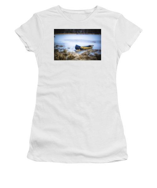 Canoe At The Frozen Lake Women's T-Shirt (Athletic Fit)
