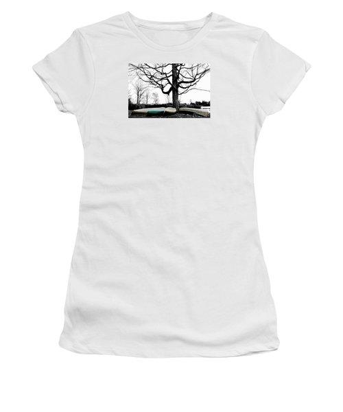 Canoes In Winter Women's T-Shirt