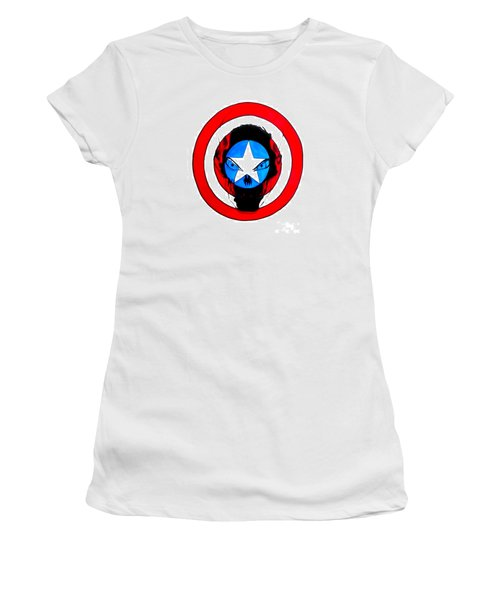Women's T-Shirt (Junior Cut) featuring the drawing Captain America And Red Skull by Justin Moore