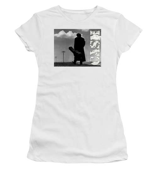 Women's T-Shirt (Junior Cut) featuring the mixed media Johnny Cash by Marvin Blaine