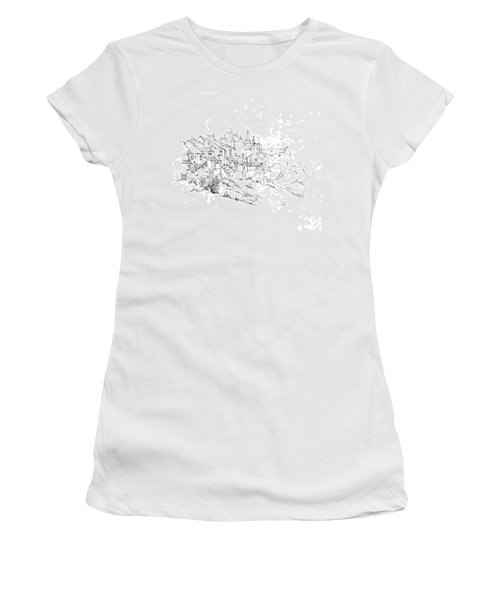 Women's T-Shirt (Junior Cut) featuring the drawing Castletown Coastal Houses by Paul Davenport