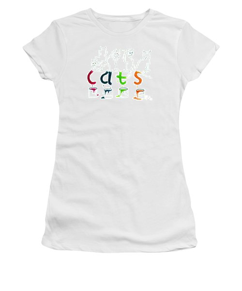 Cats With Paint Cans Women's T-Shirt (Athletic Fit)