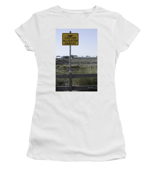 Caution Alligator Habitat Women's T-Shirt