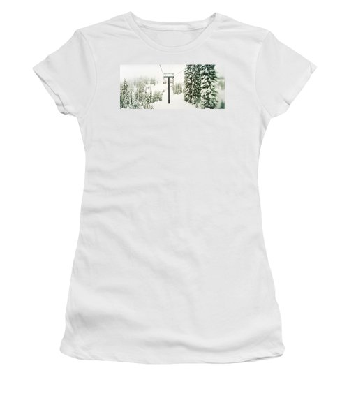 Chair Lift And Snowy Evergreen Trees Women's T-Shirt