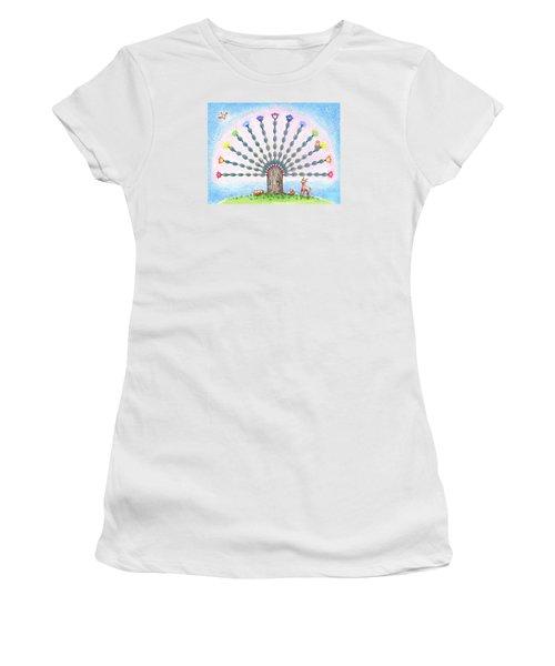 Women's T-Shirt (Junior Cut) featuring the drawing Chakra Tree by Keiko Katsuta
