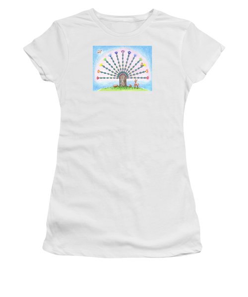 Women's T-Shirt (Athletic Fit) featuring the drawing Chakra Tree by Keiko Katsuta