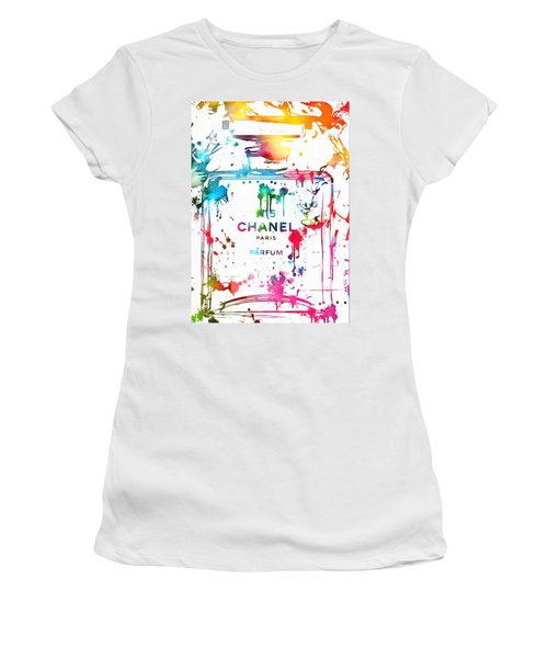 Women's T-Shirt featuring the painting Chanel Number Five Paint Splatter by Dan Sproul