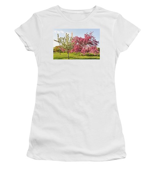 Cherry Trees And Washington Monument Three Women's T-Shirt (Athletic Fit)