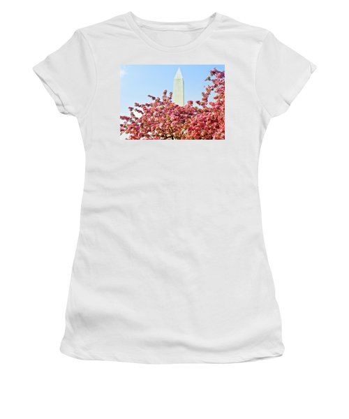 Cherry Trees And Washington Monument Two Women's T-Shirt (Athletic Fit)
