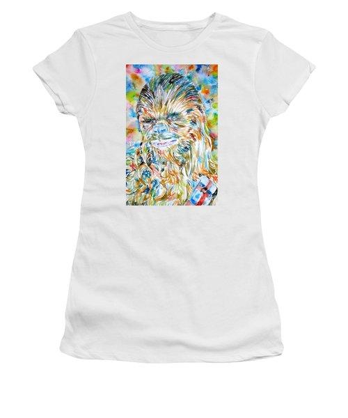 Chewbacca Watercolor Portrait Women's T-Shirt (Athletic Fit)