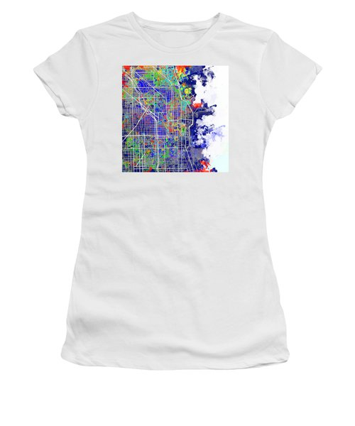 Chicago Map Color Splash Women's T-Shirt (Athletic Fit)