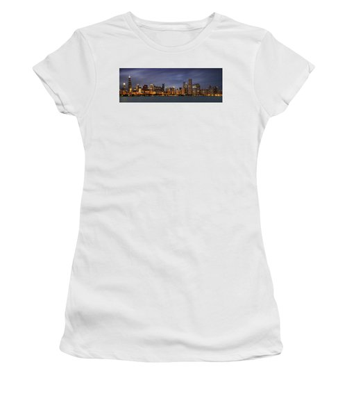 Women's T-Shirt (Athletic Fit) featuring the photograph Chicago Skyline At Night Color Panoramic by Adam Romanowicz