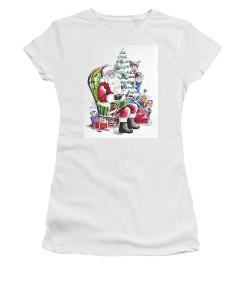 Childre Sneaking Around Santa Women's T-Shirt (Athletic Fit)