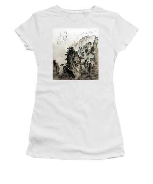 Women's T-Shirt (Junior Cut) featuring the painting Chinese Mountains With Poem In Ink Brush Calligraphy Of Love Poem by Peter v Quenter