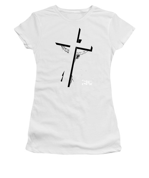 Women's T-Shirt (Junior Cut) featuring the drawing Christ On The Cross by Justin Moore