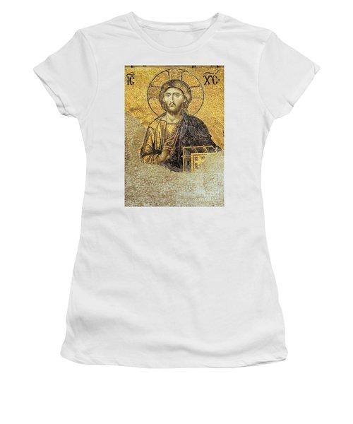 Christ Pantocrator-detail Of Deesis Mosaic Hagia Sophia-judgement Day Women's T-Shirt