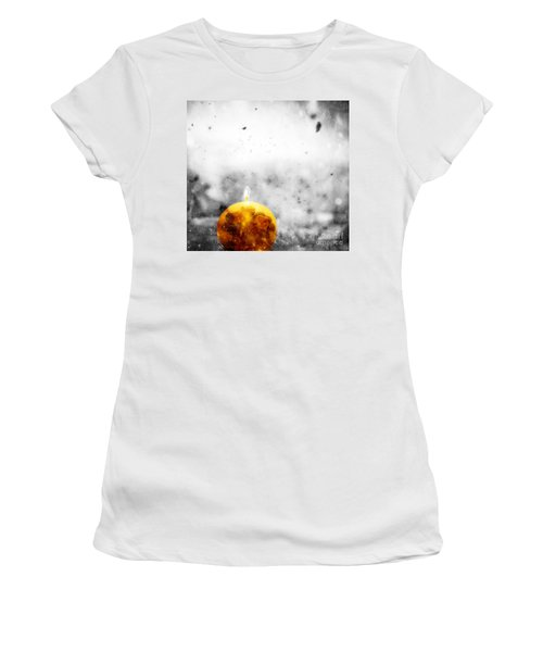 Christmas Ball Candle Lights On Winter Background Women's T-Shirt