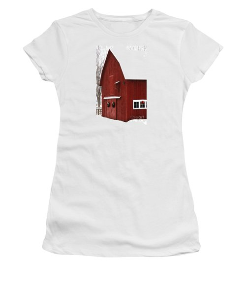 Women's T-Shirt featuring the photograph Christmas Barn 2 by Linda Shafer