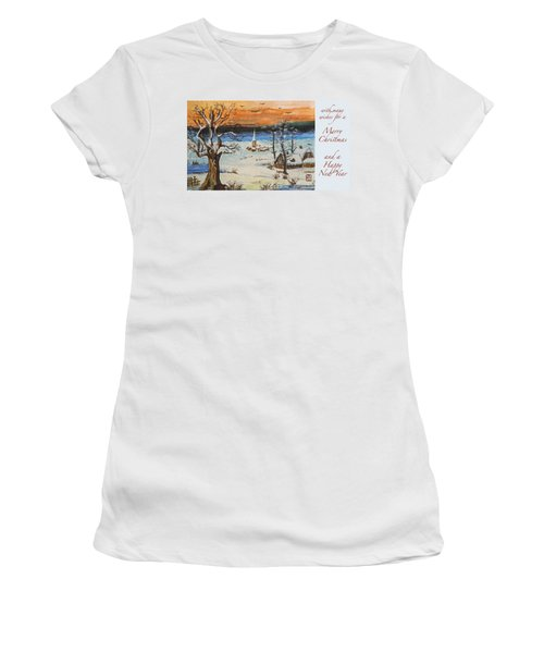 Christmas Card Painting Women's T-Shirt (Junior Cut) by Peter v Quenter