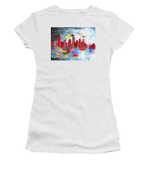 City Of Seattle Grunge Women's T-Shirt (Athletic Fit)