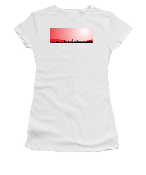 Cityscapes - Miami Skyline In Black On Red Women's T-Shirt (Junior Cut) by Serge Averbukh