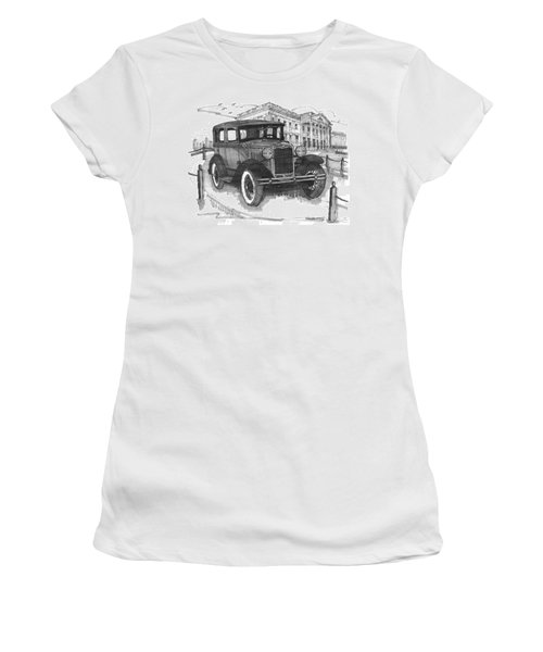 Classic Auto With Mills Mansion Women's T-Shirt
