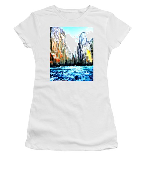 Women's T-Shirt (Junior Cut) featuring the painting Cliffs By The Sea by Bruce Nutting