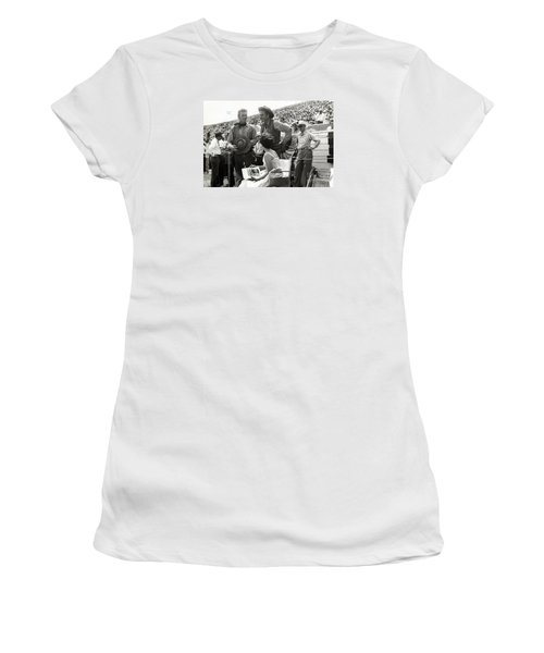 Clint Eastwood  Eric Fleming Characters Rowdy Yates Salinas California 1962 Women's T-Shirt (Junior Cut) by California Views Mr Pat Hathaway Archives
