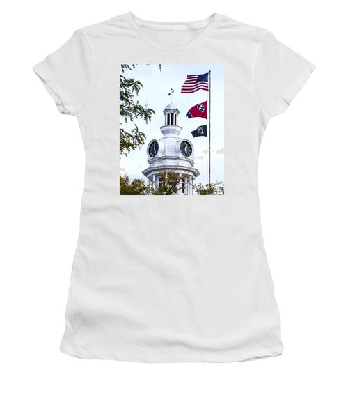 Clock Tower With Tennessee Mia Us Flag Art Women's T-Shirt (Athletic Fit)