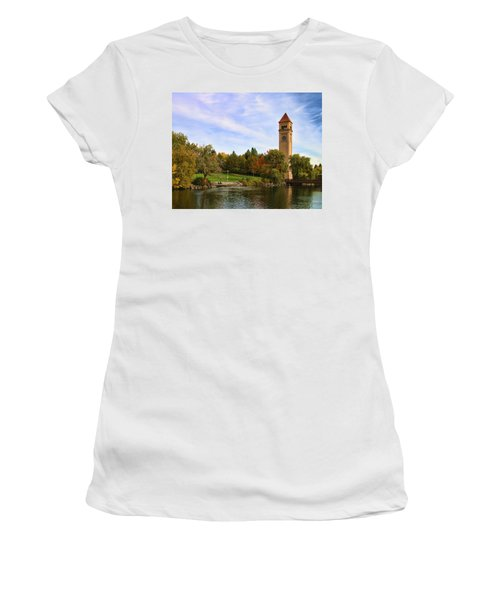 Clocktower And Autumn Colors Women's T-Shirt (Athletic Fit)