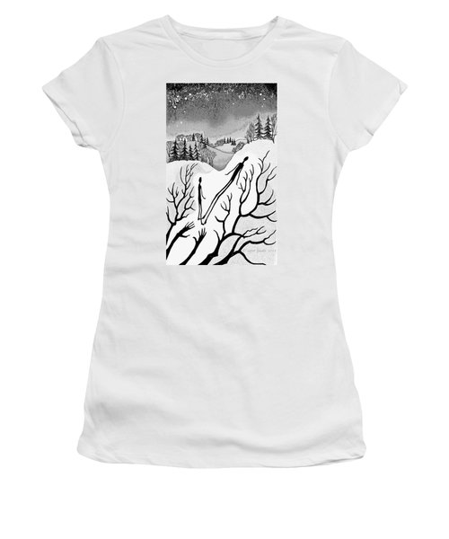 Women's T-Shirt (Junior Cut) featuring the digital art Clutching Shadows by Carol Jacobs