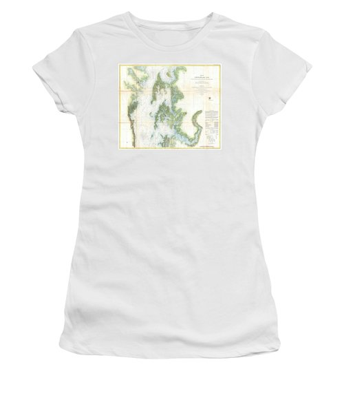 Coast Survey Chart Or Map Of The Chesapeake Bay Women's T-Shirt (Athletic Fit)