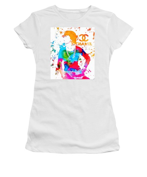Women's T-Shirt featuring the painting Coco Chanel Paint Splatter by Dan Sproul
