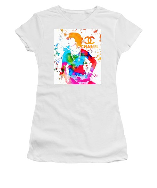 Coco Chanel Paint Splatter Women's T-Shirt (Athletic Fit)