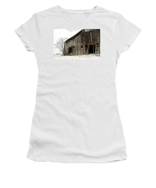 Cold Winter At The Barn  Women's T-Shirt (Junior Cut) by Wilma  Birdwell