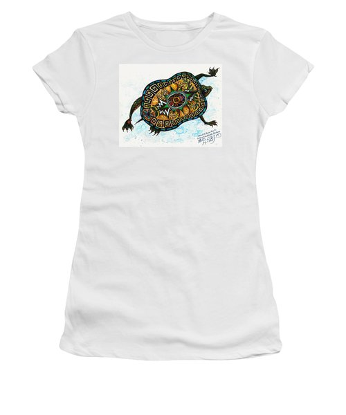 Colored Cultural Zoo C Eastern Woodlands Tortoise Women's T-Shirt (Junior Cut) by Melinda Dare Benfield