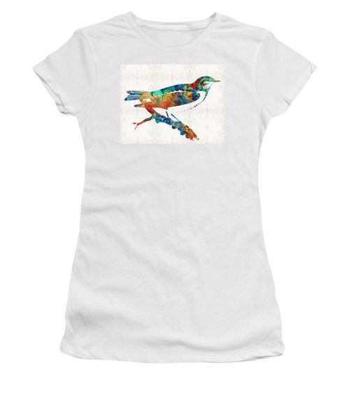 Colorful Bird Art - Sweet Song - By Sharon Cummings Women's T-Shirt (Junior Cut) by Sharon Cummings