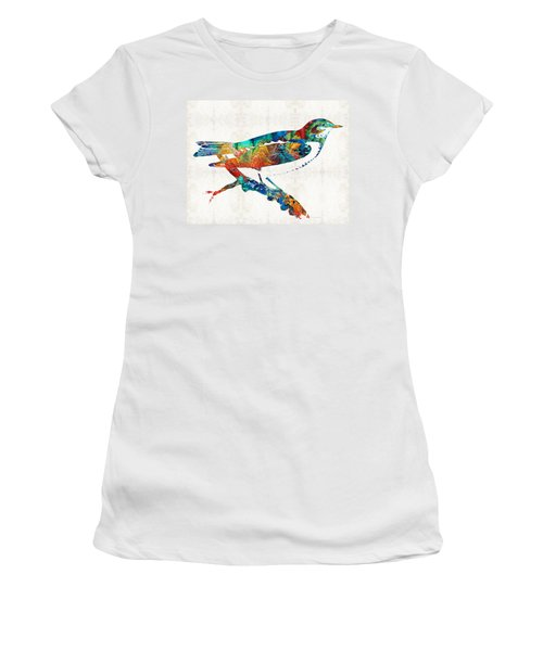 Colorful Bird Art - Sweet Song - By Sharon Cummings Women's T-Shirt (Athletic Fit)