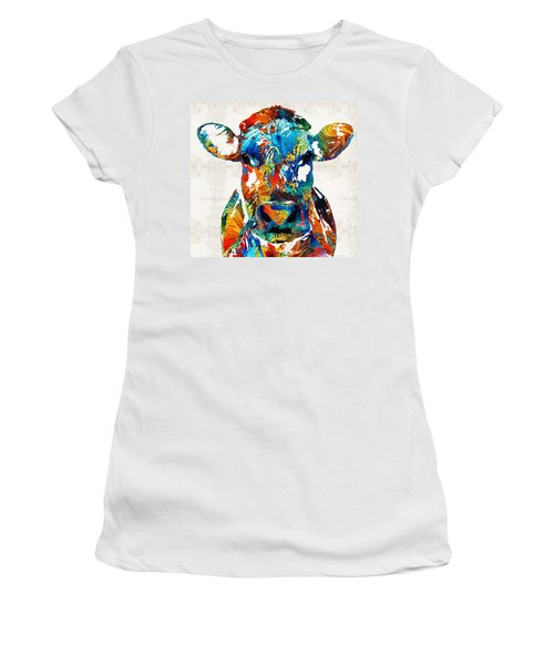 Colorful Cow Art - Mootown - By Sharon Cummings Women's T-Shirt