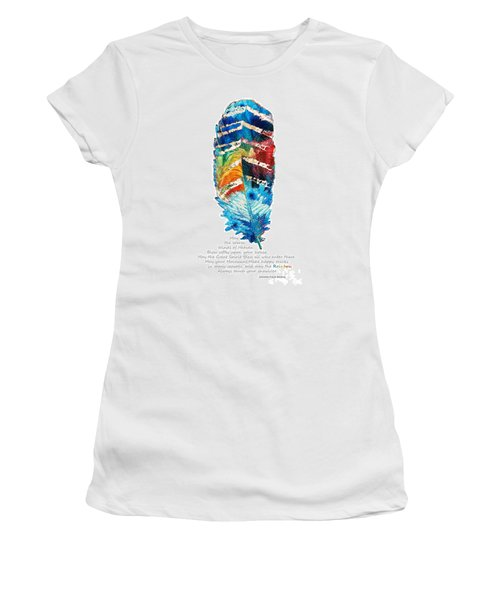 Colorful Feather Art - Cherokee Blessing - By Sharon Cummings Women's T-Shirt