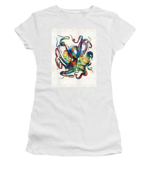 Colorful Octopus Art By Sharon Cummings Women's T-Shirt